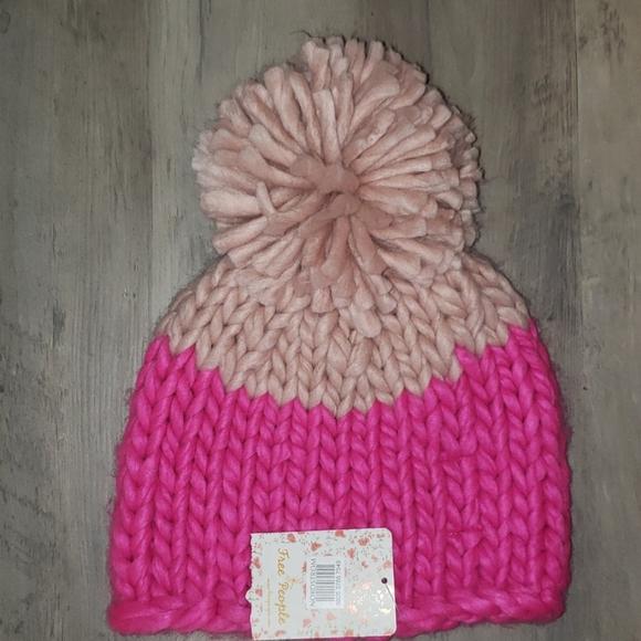 Free People hat, Blush/neon